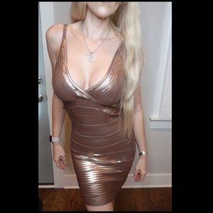 Rose Gold Sequin Bebe Bodycon Dress